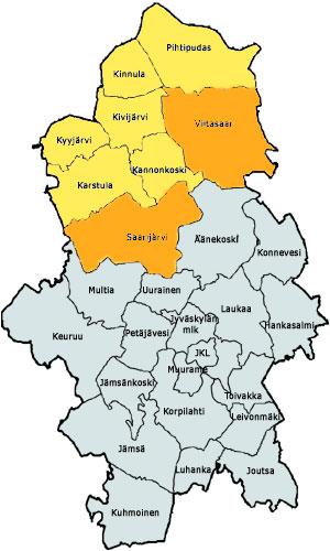Oranssi: Saarijärvi ja Viitasaari / Keltainen: Kannonkoski,Karstula,Kinnula,Kivijärvi,Kyyjärvi,Pihtipudas